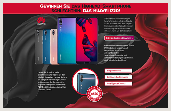 Huawei - Leadgenerierung Kampagne - Elsovero design